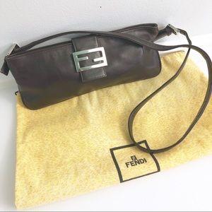 Vintage FENDI Baguette Brown Leather Shoulder Bag